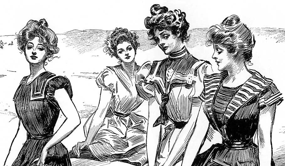 Gibson Girl pin-ups at the beach