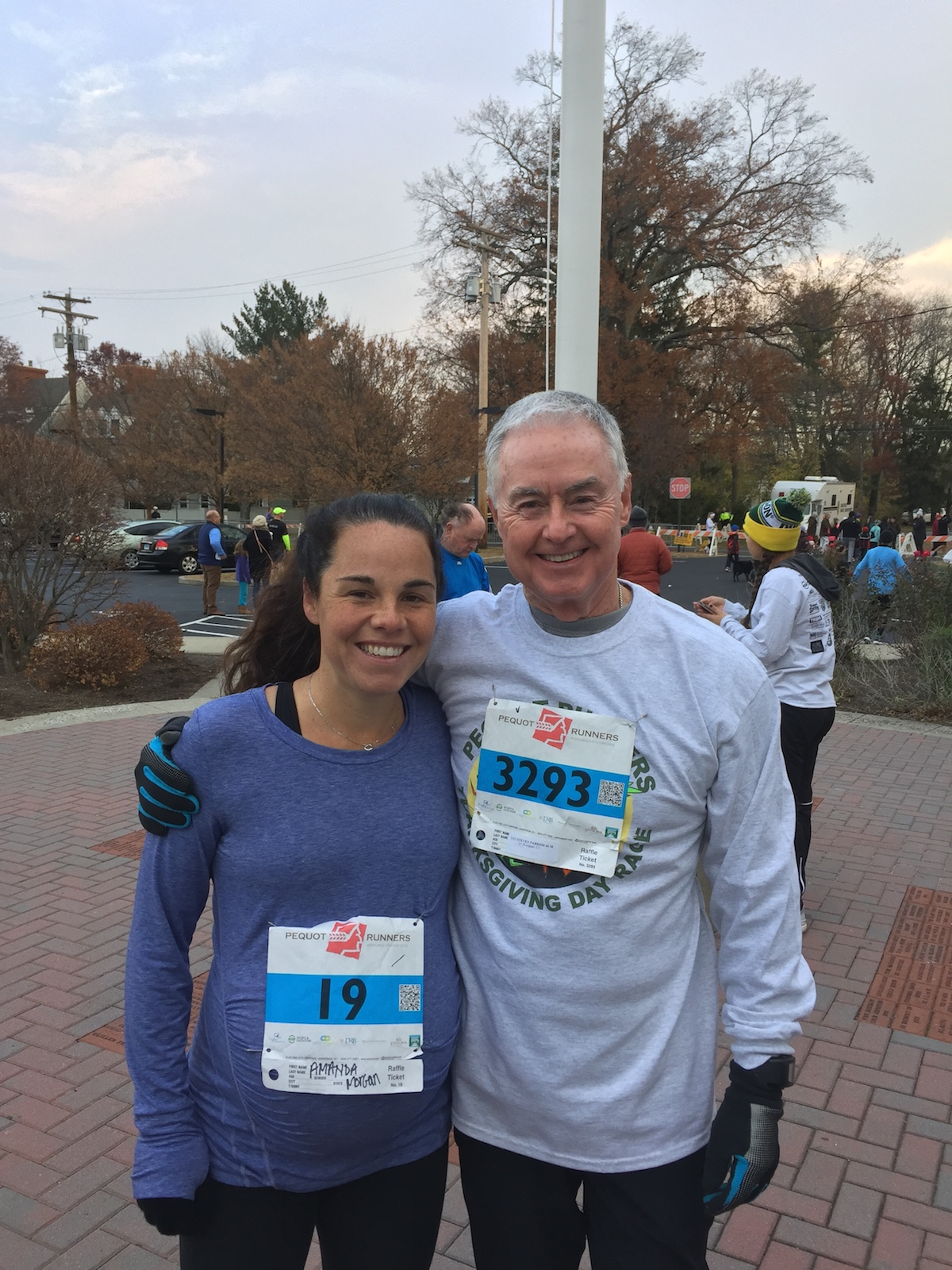 Amanda and her father at last year's Turkey Trot.