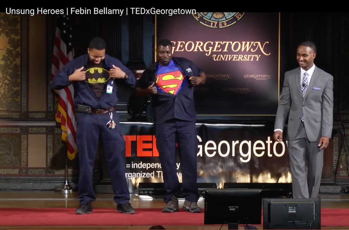 Febin Bellamy and two of Georgetown University's Unsung Heroes at an on-campus TED Talk.