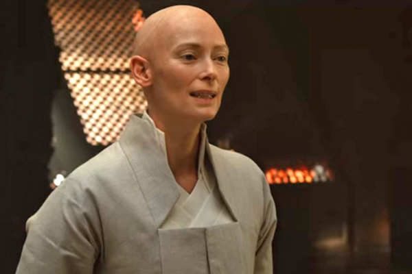 Swinton as the Ancient One. Image: Marvel Studios.