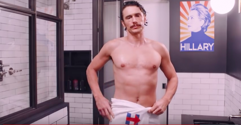 James Franco, in a towel, #withher. (Image: Youtube)