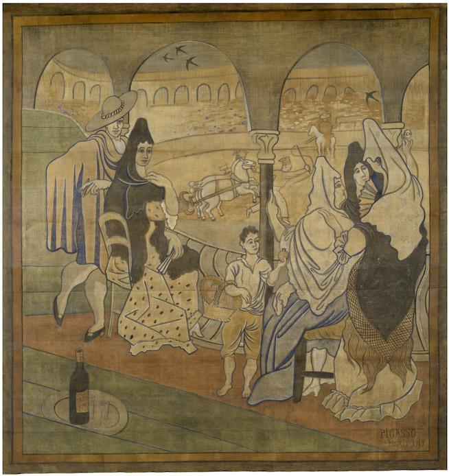 "Pablo Picasso, Curtain for the Ballet ""Le Tricorne,"" 1919. Tempera on canvas, ca. 20 x 19 feet. New-York Historical Society, Gift of New York Landmarks Conservancy, Courtesy of Vivendi Universal, 2015.22. © 2015 Estate of Pablo Picasso / Artists Rights Society (ARS) New York"