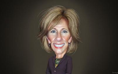 By DonkeyHotey (Betsy DeVos - Caricature) [CC BY-SA 2.0 (http://creativecommons.org/licenses/by-sa/2.0)], via Wikimedia Commons