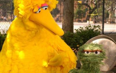 Big Bird meets Beastie Boys.