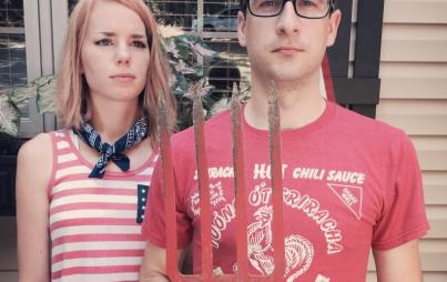 Claire Hopple and husband, American Gothic version.