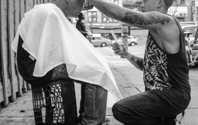 "For the past five years, ""Humanit-HAIR-ian"" Mark Bustos has been giving free haircuts to homeless people in NYC. PhotoCredit: @MarkBustos Instagram"