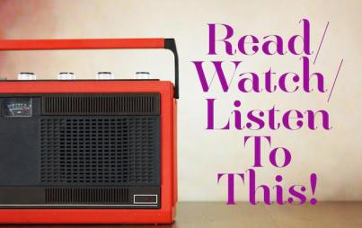 The premise is pretty simple: We each give you one thing to watch, one thing to listen to, and one thing to read over the weekend.
