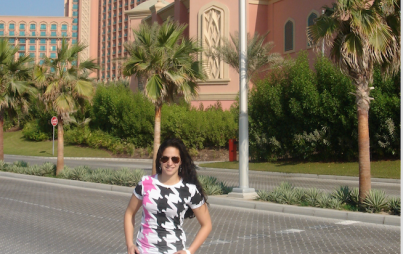 Sayde in front of the Atlantis Hotel on Palm Jumeirah.