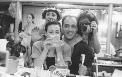 Michelle (with cigarette), the author, the makeup artist, Barbara Nitke (with camera), and actor Damien Cashmere, as shot in a makeup mirror, behind the scenes at Every Body (Photo courtesy of Barbara Nitke)