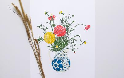 Kitchen Table Ranunculus Print from Brown Parcel Press